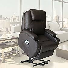 amazon com power lift real leather recliner chair wall hugger