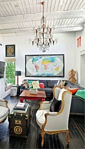 World Map Framed Eclectic Living Room With Framed World Map In The Walls