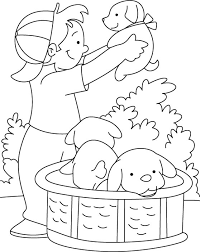 boy playing puppy coloring download free boy playing