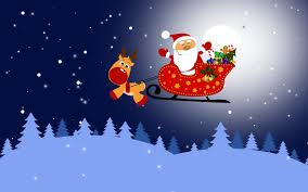 santa in his sleigh and rudolph walldevil