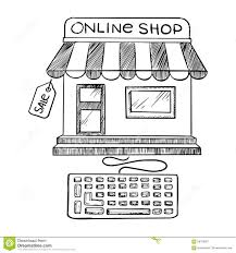 online shopping and store icon sketch stock vector image 58728957