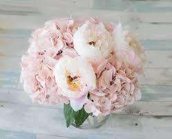 faux peonies silk blush pink hydrangeas and peonies centerpiece large