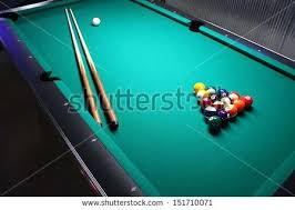 Sportscraft Pool Table Billiard Balls Arranged In A Triangle Green Table Hd Stock