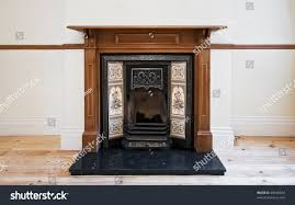 antique fireplace carved wooden frame hand stock photo 69340834