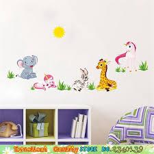 stickers animaux chambre b amovible cartoom animaux mur sitkcer non toxique diy bébé à la