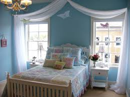 fancy bedroom idea with white curtains also light blue wall