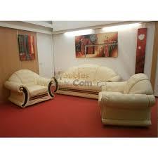 canap cuir beige ensemble salon classique italien canapé 3 places 2 fauteuils cuir