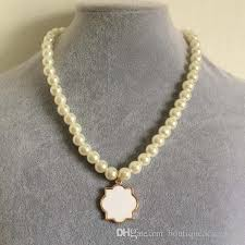 pearl monogram necklace monogram enamel quatrefoil magnolia disc blanks necklace pearl