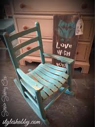 hand painted distressed child rocker in teal river junk monkey