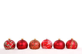 assorted ornaments on a white background www row of balls