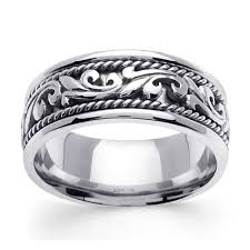 men s wedding band 9mm scroll deco 14k white gold men s wedding band goldenmine