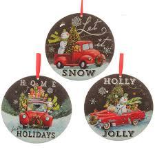 Ornaments For Trucks Raz Wood Disk Ornaments With Cars Trucks Snowman