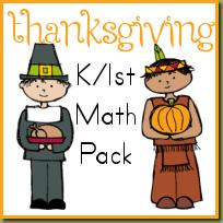 thanksgiving kindergarten u0026 1st math pack royal baloo
