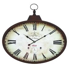 woodland imports 66973 metal wall clock design in rustic and