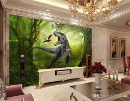 3d wallpaper jurassic park dinosaurs out tv background wall living