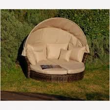 divanetto letto divano letto pagoda tondo con struttura in alluminio e intreccio