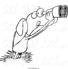 clip art of a black and white bird dog using binoculars by