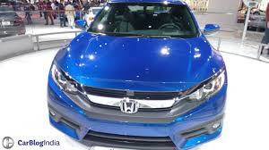 honda civic 2016 coupe 2016 honda civic coupe la auto show blue front carblogindia