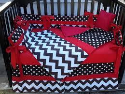 brown white polka dot chevron w red crib bedding set w minky dot