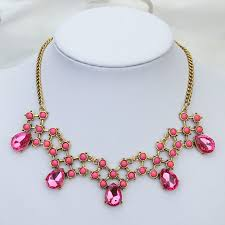 resin statement necklace images Delicate pink resin stone rhinestone gem pendant style statement jpg