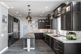 Gray Cabinets With White Countertops Grey Hardwood Floors Ideas Modern Kitchen Interior Design Dark