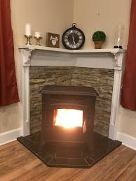 pellet stove stone wooden mantle home stuff pinterest pellet