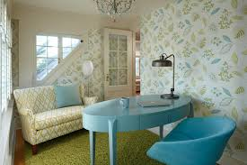 home offices interior design minneapolis lilu interiors light blue oval desk and chair in eclectic home office with floral wallpaper