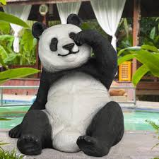 this size slouching panda constructed of fiberglass and