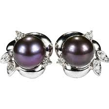 pearl diamond earrings black purple tahitian cultured pearl diamond 14k gold stud