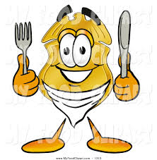 food clip art of a police badge mascot cartoon character holding a