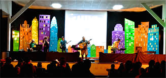 Church Stage Christmas Decorations Christmas Decorations For Concert Rainbow Kindergarten