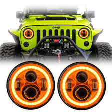 orange jeep cj 7 inch round orange color halo led headlights pair jeep