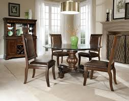 Round Glass Dining Table With Wooden Base Chair Round Glass Dining Room Sets Table Tops Cream Chairs Grey