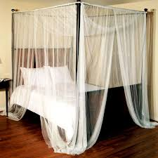 White Canopy Bed Curtains Choose Sheer White Canopy Bed Curtains For Classic Wooden Bed And