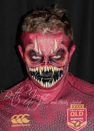 monster face painting go queenslander matty as the