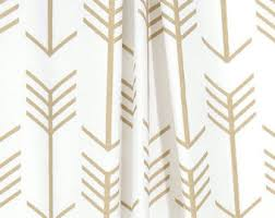 Gold And White Curtains White Arrow Curtains Etsy