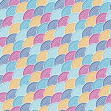 seamless japanese style half circle pattern dotted pattern fish