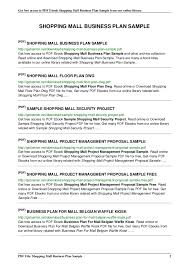 Shopping Mall Floor Plan Pdf Shopping Mall Business Plan Sample