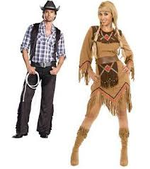 Halloween Costume Cowboy Couples Cowboy Indian Costume Friend Talking