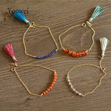 stone bracelet diy images Yoowei chic tassel bracelets for women handmade tiny natural lapis jpg