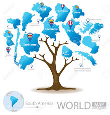 Map Of Countries In South America by Tree Design Countries In South America World Map Vector