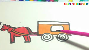 colors for children tv 126 how to draw horse wagon for kids and