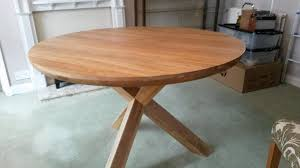 X Leg Dining Table Trinity Natural Solid Oak Round Table With Crossed Legs And 4 X