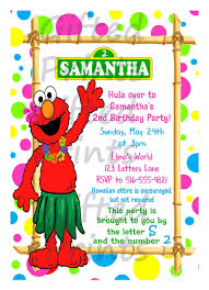 invitation elmo luau theme