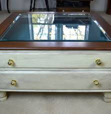 Glass Top Display Coffee Table With Drawers Glass Top Display Coffee Table Ebth