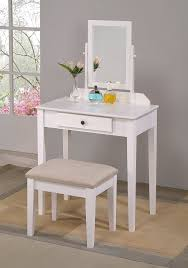 Dressing Vanity Table Crown Iris Vanity Table Stool White Finish With