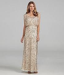 dillards bridesmaid dresses aidan mattox sequin gown dillards 460 neutral gold
