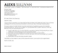 cover letter sles sales trainer cover letter sle livecareer