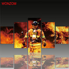 firefighter home decorations firefighter canvas painting 5pcs wall art poster put out the fire