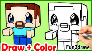 how to draw steve minecraft cute u0026 easy color step by step